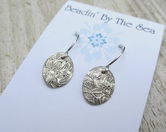 Silver Floral Earrings, Floral Charm Earrings, PMC Jewelry, Sterling Silver, Nature Inspired, Minimalist, Artisan Jewelry, Gift Under 30