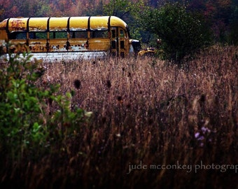 industrial photography abandoned bus purple yellow rural decay fine art photography home decor