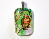 Woodland Owl Handcrafted Glass Pendant... Wearable Art Jewelry
