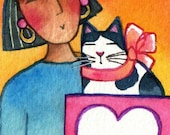 Cat in a Box/ Cat Lady Art/ Original ACEO Miniature Watercolor Painting by Susan Faye