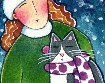 Original ACEO Art/ Winter Snow Cat Lady/ Miniature Watercolor Painting by Susan Faye