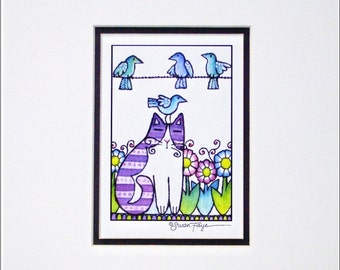 Garden Cat and Birds/ Whimsical Art Print Home Decor by Susan Faye