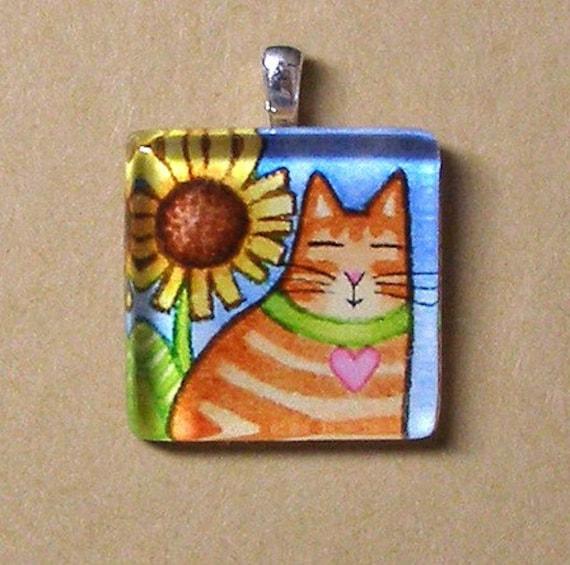 ORANGE TABBY Glass Pendant... Cat and Sunflower Wearable Art Jewelry