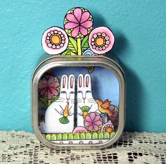 Bunny Rabbit Twins Shadow Box, Handmade Desktop Diorama Shrine