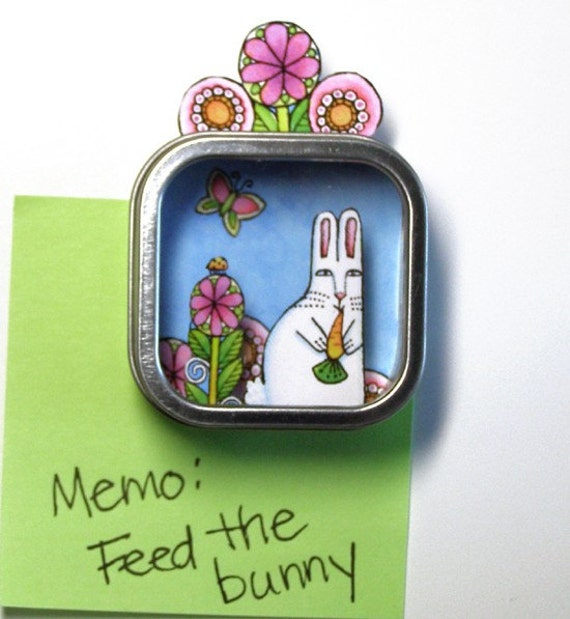 Garden Bunny 3-D Refrigerator Magnet... Art For Your Fridge... Shadow Box Mini Diorama