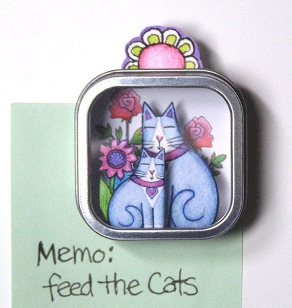 SALE... Grey Tuxedo Cat Mom Shadow Box... Handmade Refrigerator Magnet
