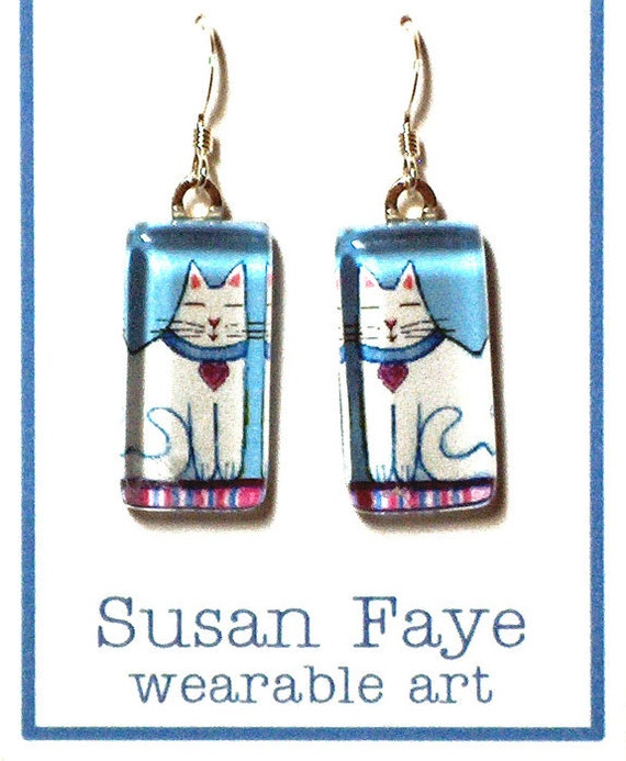SALE... White Cat Earrings... Handcrafted Wearable Art Glass Jewelry