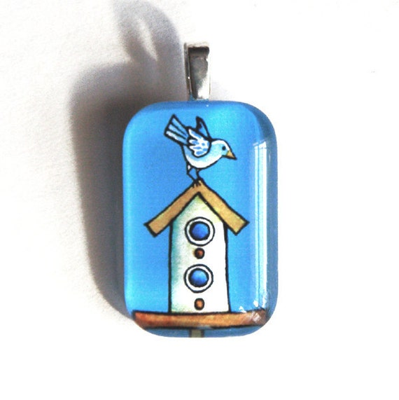 Whimsical Birdhouse Pendant with Blue Bird... Handcrafted Wearable Art Jewelry