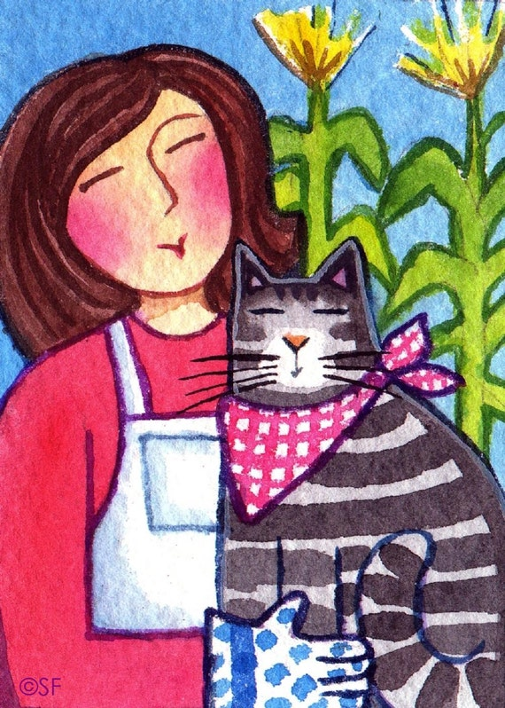 Country Cat Lady and Farm Tabby...Original  ACEO Watercolor Painting