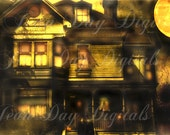 Witch's Moon Mansion, Haunted House Halloween - Victorian Altered Photo Scan Antique image Instant Digital Download DH020