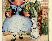 Spring, Easter Finery, Bunnies,  from antique postcard Instant Digital Download DP040