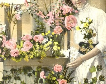 French Flower Shop with Pink Roses, Photo Scan Instant Digital Download DP003