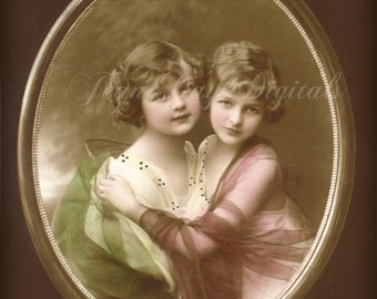 ulia and Hilarie - Sisters - Lovely Shawls - French Postcard - Photo Scan - Instant Digital Download FrA010