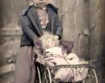 Young Lady Priscilla and Doll Petunia with buggy, Digital Postcard Photo Scan Instant Digital Download DP020