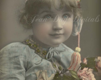 Suzanne Azure - holding flowers - young girl - French Postcard - Photo Scan Instant Digital Download FrA030