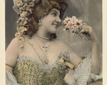 Rings on her Fingers - La Belle Epoque Glamour - Antique French Postcard - Carte Postale - Printable Instant Digital Download FrA051