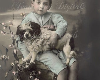 Boy and His Dog - French Postcard - Photo Scan - Printable Instant Digital Download FrA055