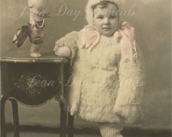Young Helen and Cupie Doll, Christmas Instant Download, Photo Scan 1920's, DP035