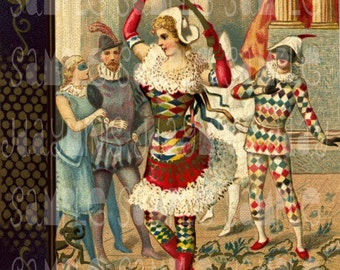 Masquerade  Harlequin - An Italian Carnival - Italian Illustration Scan 1885 Instant Download DH035