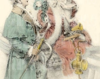 Christmas, Couple in Winter- French Postcard 1908 - Scan, Gift Tag - Instant Digital Download FC005