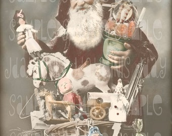 Santa with Toys, French Christmas, Le Pere Noel - Santa French Postcard 1918 Instant Download- Photo Scan - FC024