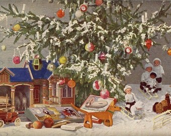 Christmas, Gifts Under the Tree, Dollhouse, dolls -  French Postcard Scan, Gift Tag - Instant Digital Download FC036