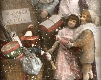 French Christmas, Mother and Children with Pere Noel - French Postcard Scan, Gift Tag -Instant Digital Download FC050