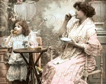 Tea Time with Mother, Tea Party, Digital Instant Download Garden Party - French Postcard early 1900s - Photo Scan - FrA080