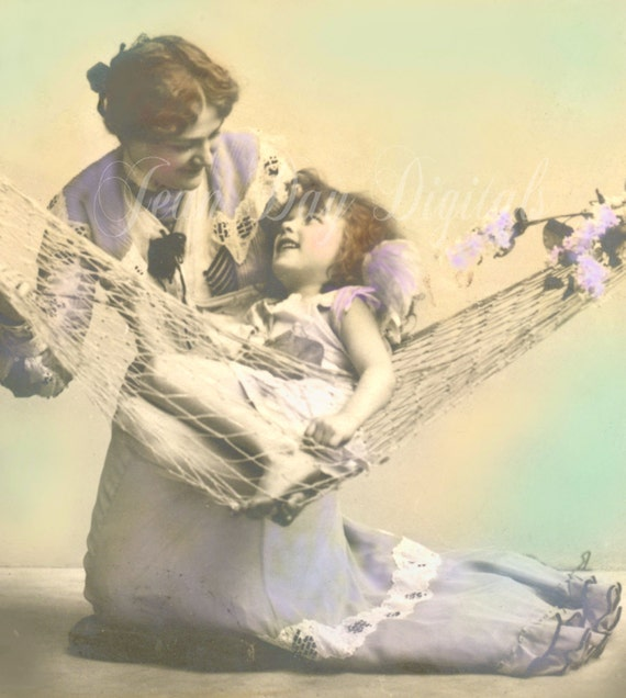 Lazy Days and Lilacs, Mother's Love - Mother's Day,  French Postcard Instant download - Victorian Photo Scan FrA022