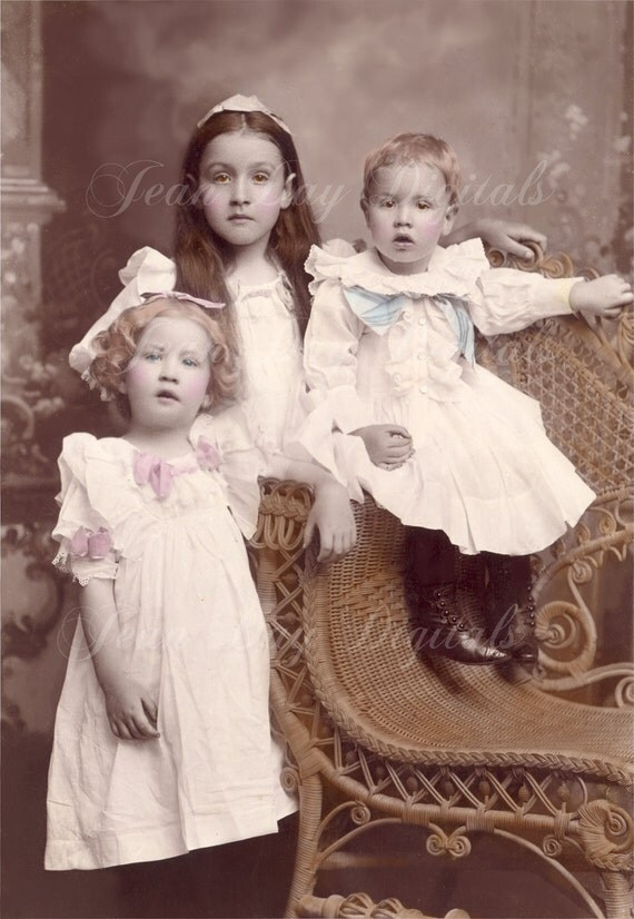 Jillian, Monique and Peter, Victorian Children and Wicker Chair, late 1800's, Photo Scan,Instant Digital Download DP032
