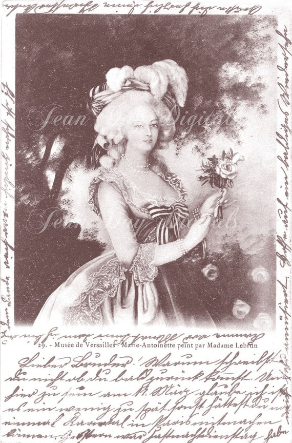 Digital Download Marie-Antoinette and Script 1903 - French Postcard - Photo Scan - Printable Instant Digital Download FrA060