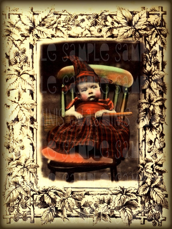 Baby Witch, Baby's First Halloween - Altered Antique1870's Photo Scan Instant Digital Download DH003