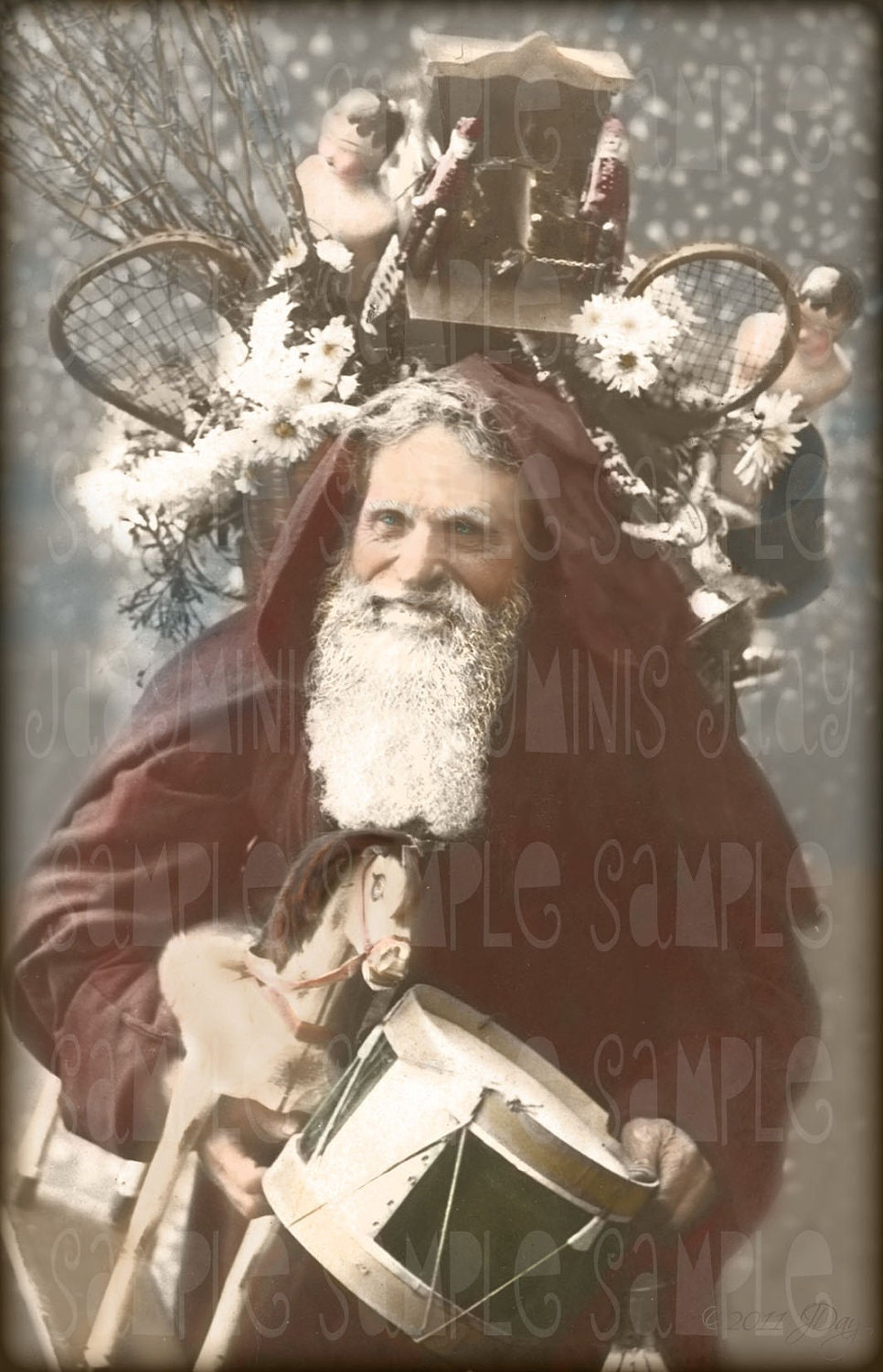 santa with toys le pere noel french postcard 1908 photo. Black Bedroom Furniture Sets. Home Design Ideas