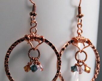 Copper Hoop Earrings, Swarovski Crystals, Metal Jewelry, Hoop Earrings, Dangle & Drop Earrings, Womens Gift