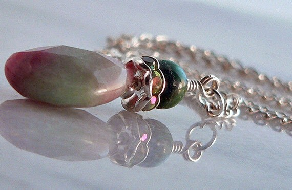 Watermelon Jade Pendant Necklace Swarovski Crystal Pink Green Sterling Silver Chain 1164