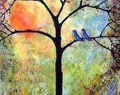 Sunshine Tree Art Print , Bluebirds, Love Birds, Bright, Cheerful, Romantic  Modern Tree of Life | Mat Option