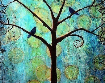 Tree of Life, Something Blue, Teal, Home Decor, Birds Art Print, Optional Matted Print, Turquoise, Twilight Moon