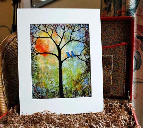 Art Print Tree Love Birds Sunshine with 11X14 Mat - Love Birds
