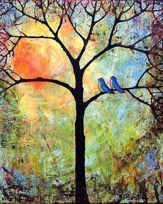 Sunshine Art Print Tree, Bluebirds, Love Birds, Bright, Cheerful, Romantic 8X10 or 11X14