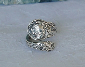 Cabbage Rose Gorham Vintage Sterling Spoon Ring dmfsparkles