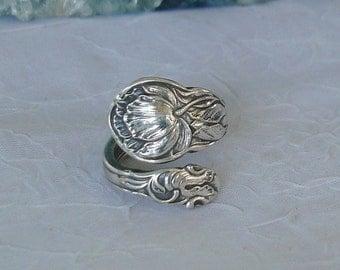 Cabbage Rose Gorham Vintage Sterling Spoon Ring dmfsparkles