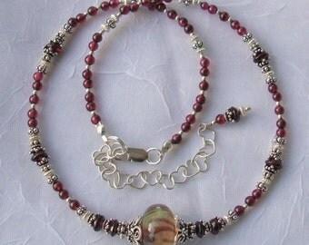 Garnet Twist   Lampwork Stone Sterling Silver Necklace  dmfsparkles