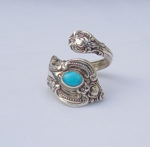 Vintage Turquoise Towle Sterling Spoon Ring   El Grande    dmfsparkles