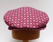 Men's Driving Cap in Vintage Red and White Wool - Made to Order in Your Size