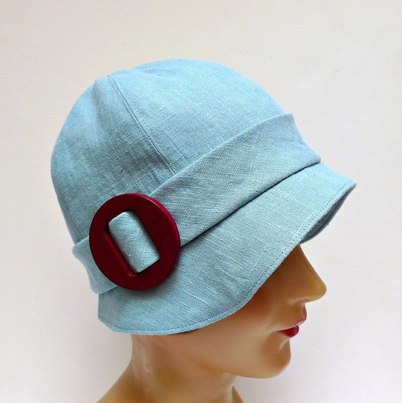 Cloche Hat in Ice Blue Linen - Women's Cloche Hat - 1920s Cloche Hat - MADE TO ORDER