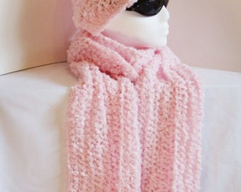Hand Knit Hat Beanie Winter Hat Pink Cotton Candy Color Hat Toque Knitted Hat Soft Warm Teen Gift Women Gift Youth Gift