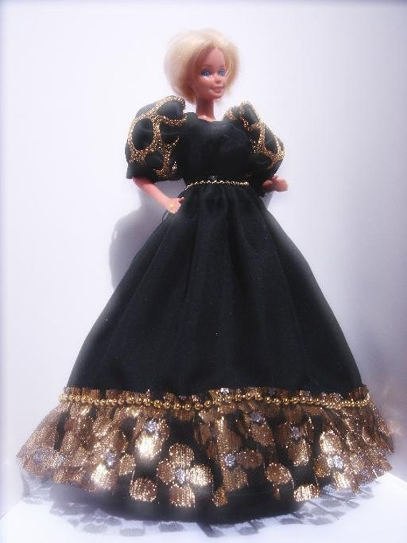 "Fashion Doll Evening Gown OOAK 11.5"" Black and Gold dress with ruffle and pearl-like trims 11 1/2 inch doll gown"