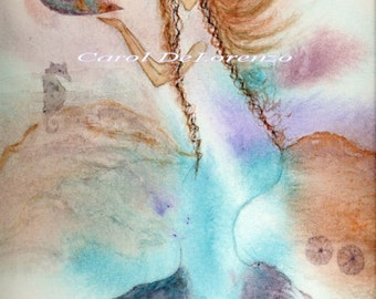 Watercolor Painting, Mermaid Art, Mermaid Painting, Mermaid Watercolor, Mermaid Art Print, Ocean Art Print Titled Mermaid and Shells