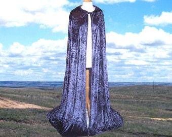 Hooded Cloak Blue Cape Velvet Renaissance Festival Wedding Medieval Christmas