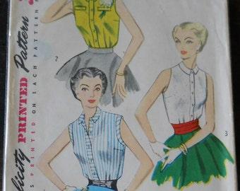 Mid Century Blouse Pattern • 1953 Sleeveless Blouse • Simplicity Pattern